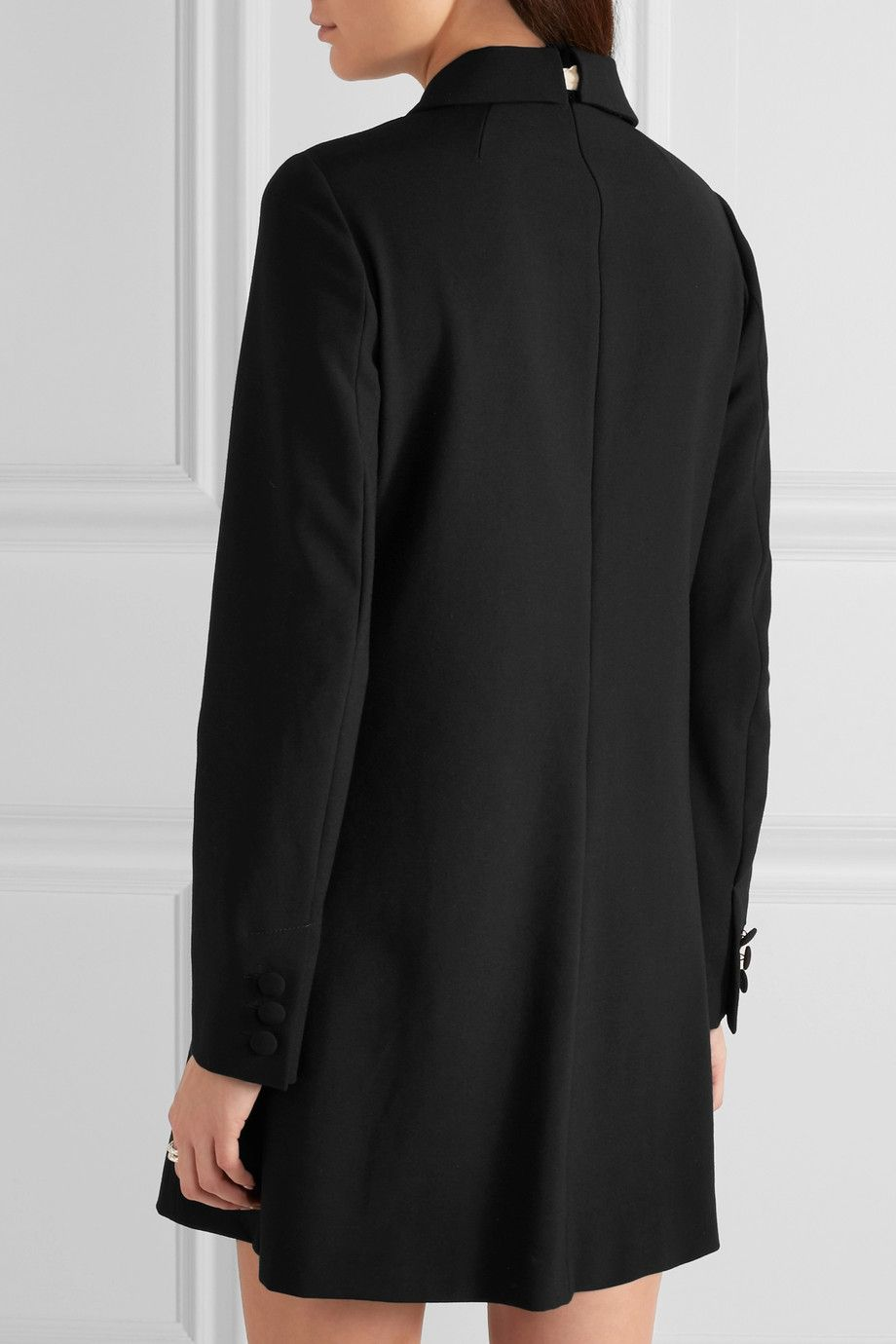 REDValentino | Pussy-bow embellished crepe mini dress | NET-A-PORTER.COM