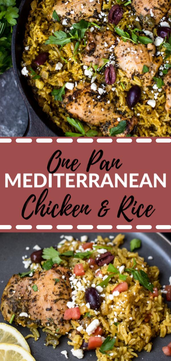 One Pot Mediterranean Chicken and Rice #healthyweeknightmeals