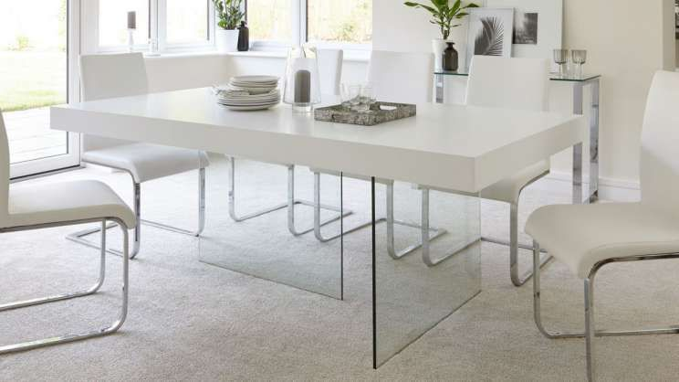 12 Romantic White Wood And Glass Dining Table Gallery In 2020