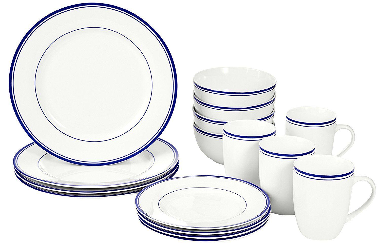 AmazonBasics 16Piece Cafe Stripe Dinnerware
