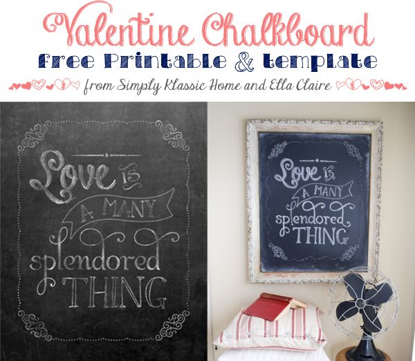 Valentine Chalkboard Template and Free Printable - Yellow Bliss Road