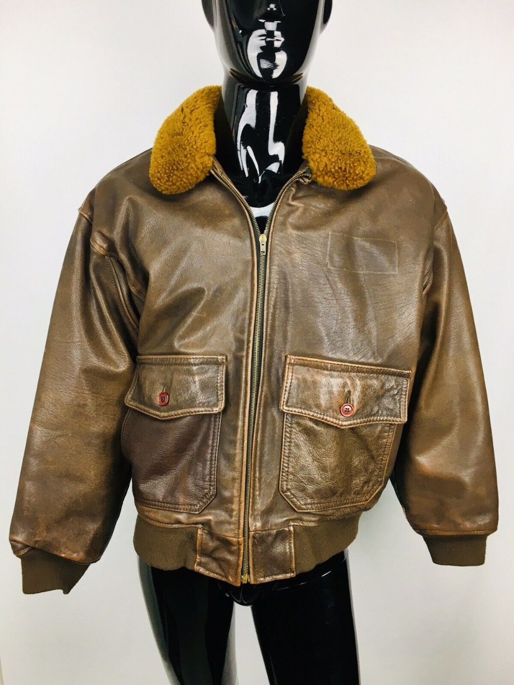 Authentic VTG Avirex Leather Flight Bomber Jacket Type G1