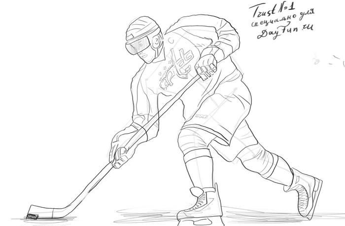 хоккеист рисунок карандашом фото