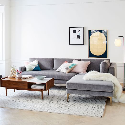 Andes 3 Piece Chaise Sectional West Elm Modern Furniture Living Room Living Room Furniture West Elm Living Room