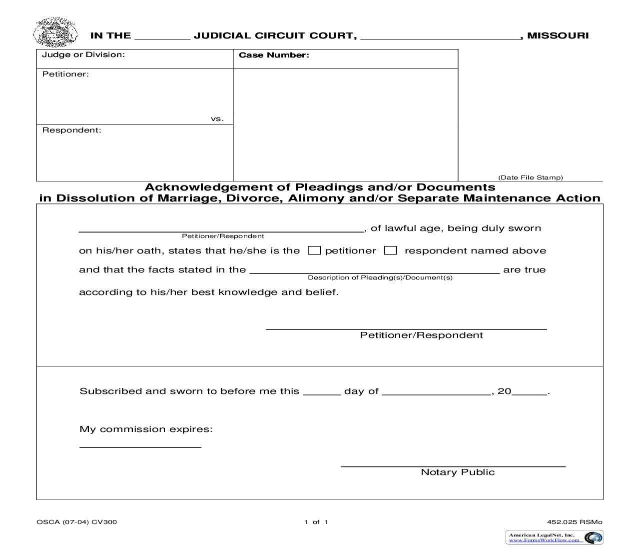 Acknowledgement Of Pleadings And Or Documents In Dissolution Of Marriage Dissolution Of Marriage Missouri Circuit Court