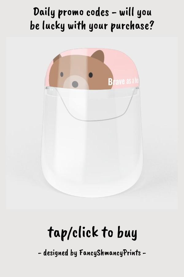 Cute Little Bear, Customized Light Pink Face Shiel