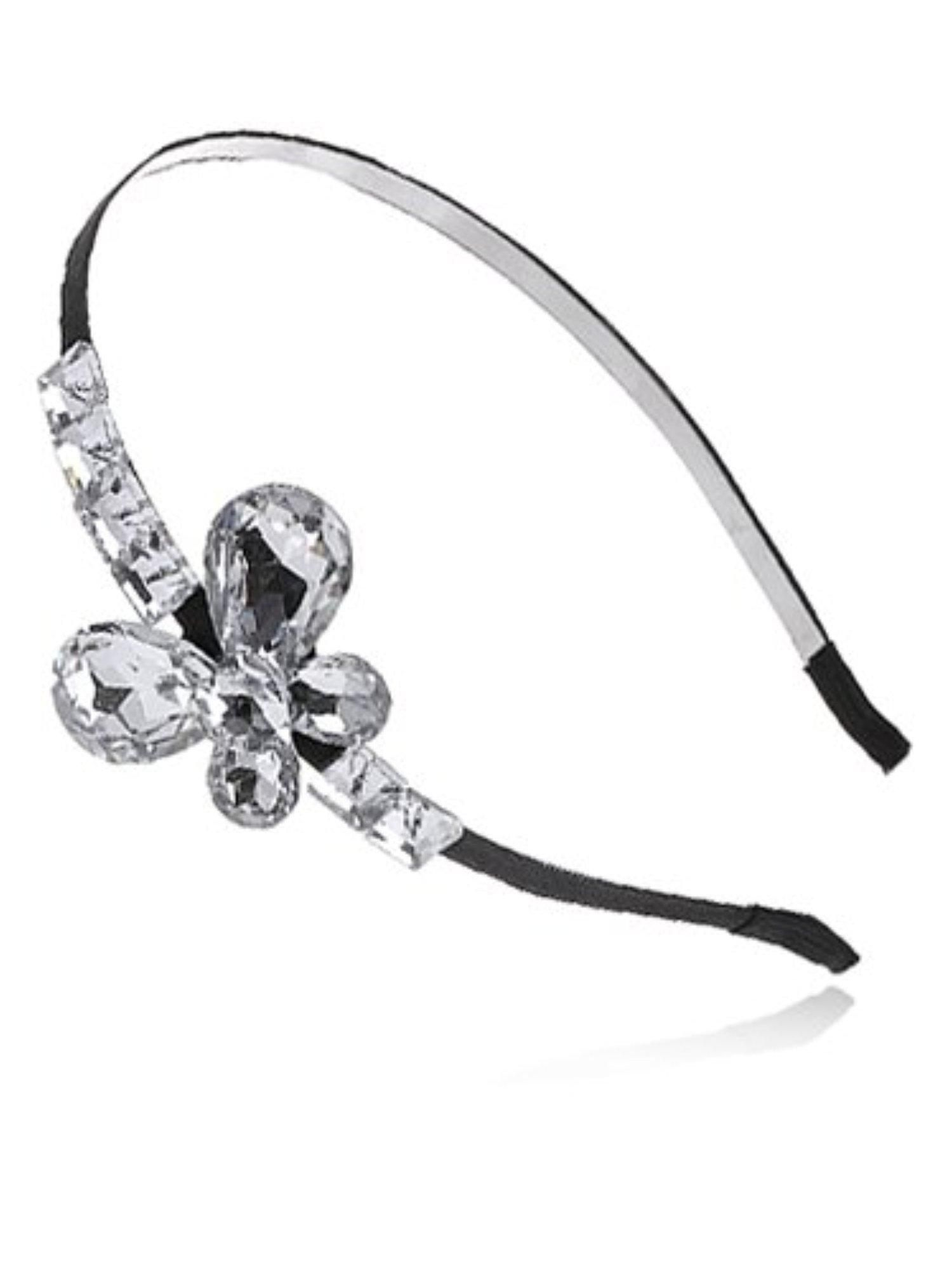 Alilang Black Diamond Colored Studded Rhinestones Butterfly Hair Piece  Headband - Brought to you by Avarsha.com 783828ea88c