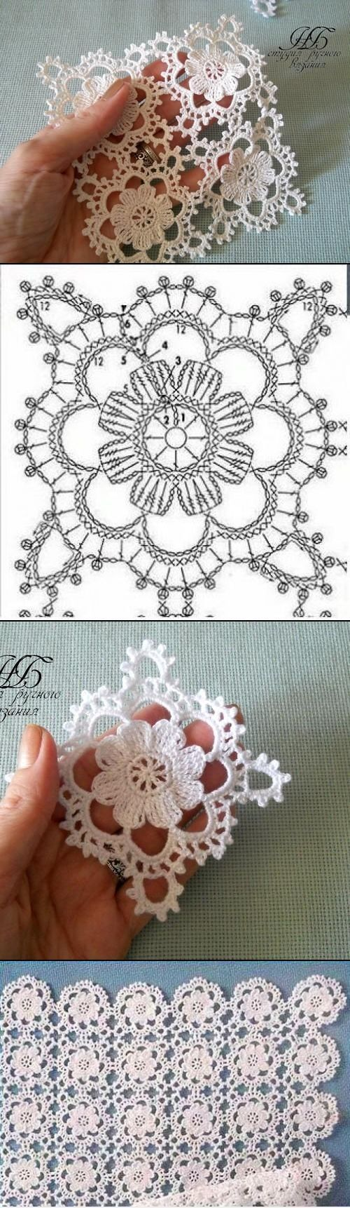 Motivo cuadrado de encaje muy crochet – Love Amigurumi