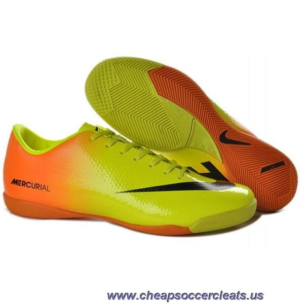 big sale fc042 5a456 Latest Listing Discount Nike Mercurial Victory IV IC Indoor Futsal Orange Yellow  Black Soccer Shoes For Sale