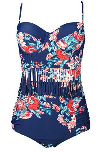 Women Modest Cover ups Vintage Cute one Two Piece high Waisted Tankini Bikini Swimsuit