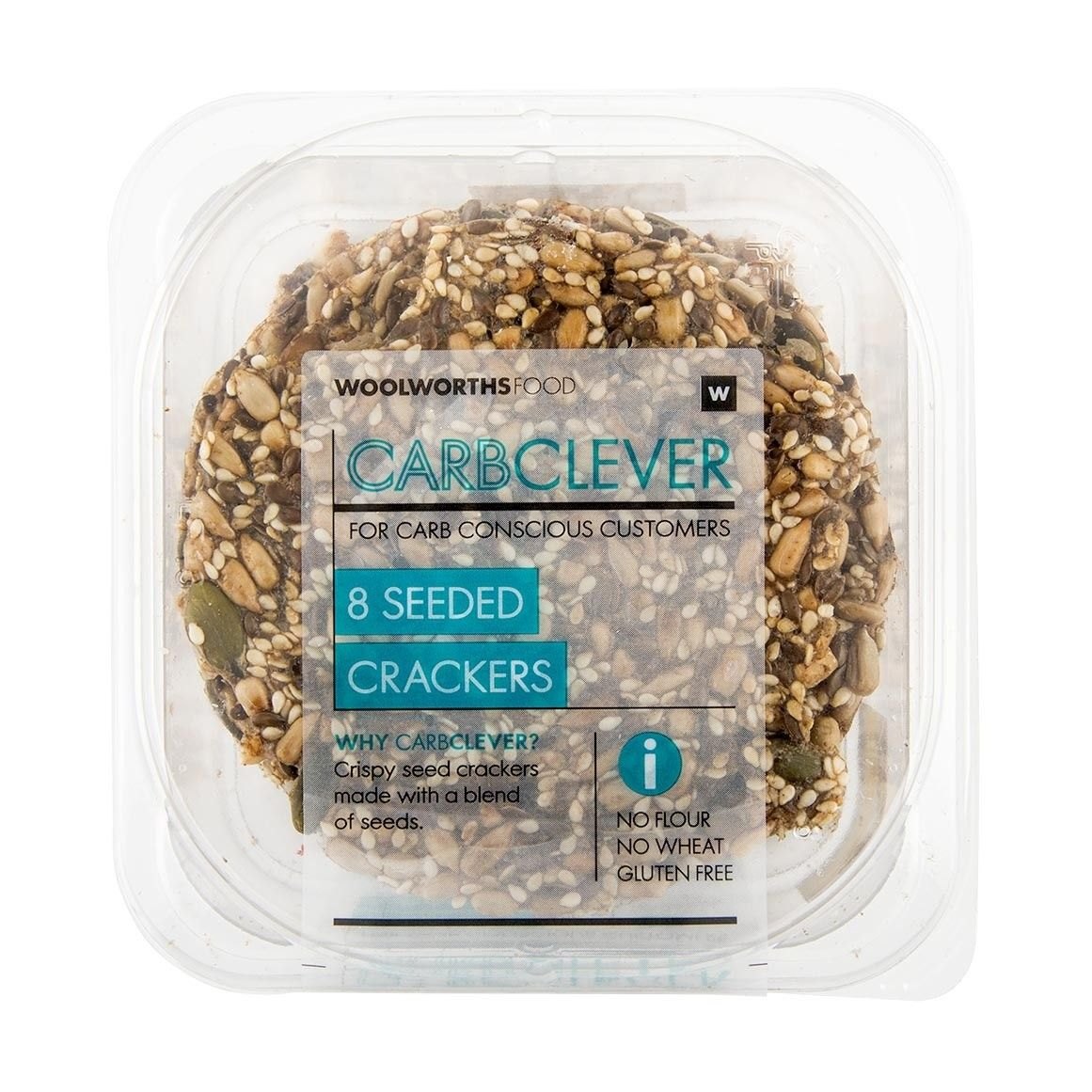 Carbclever seeded crackers 8pk crackers seeds gluten free
