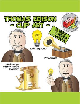 Thomas Edison and his inventions Clip Art - 10 PNGS | Clip art ...