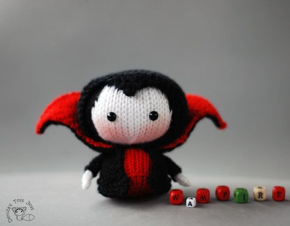 Vampire Doll. Tanoshi series toy. Knitting pattern by deniza17