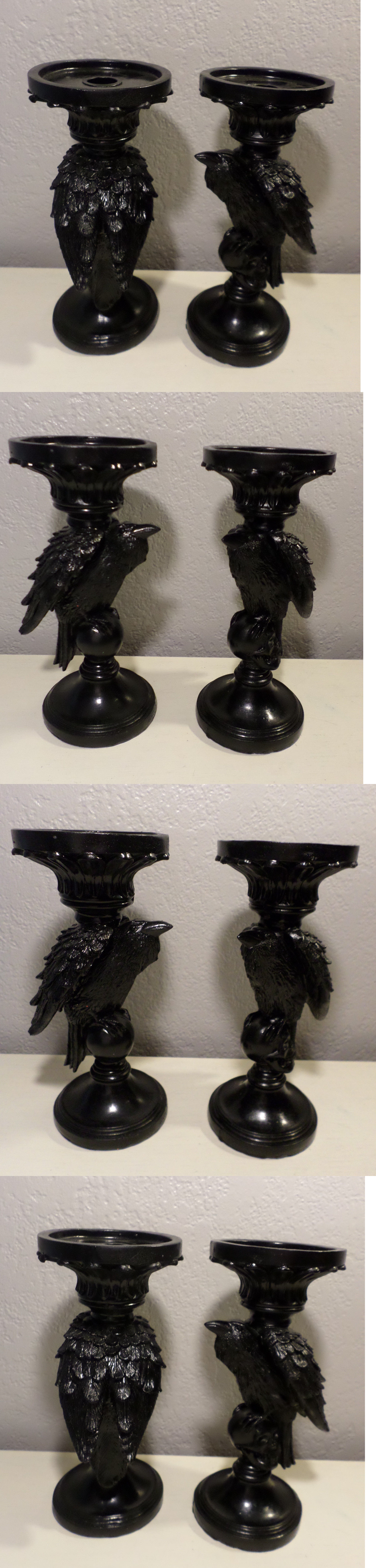 halloween 170094 2 black ravens crows candle holders fall halloween 170094 2 black ravens crows candle holders fall halloween props spooky home decor new
