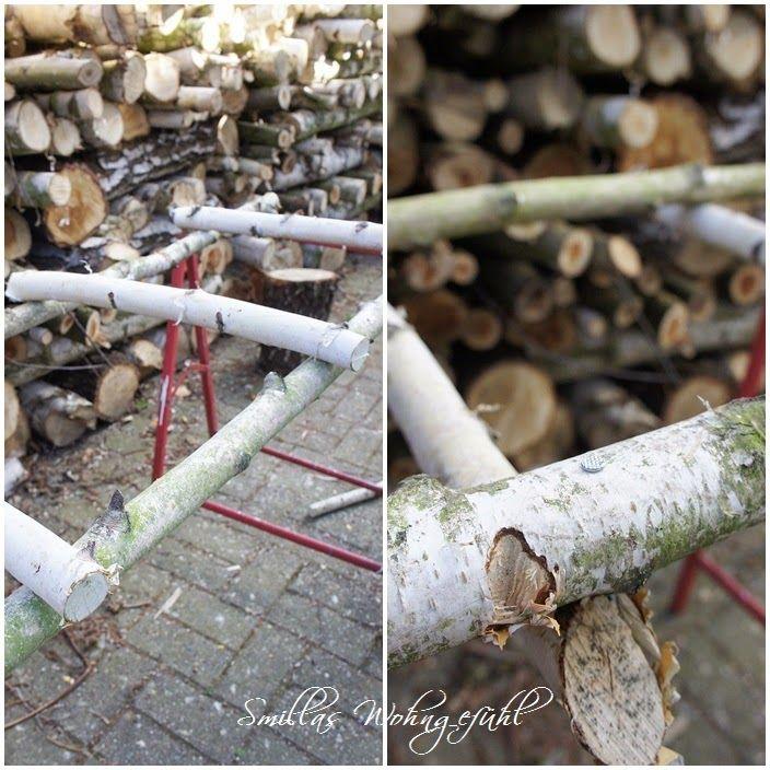 Smillas Wohngefühl: DIY: Holzleiter aus Birkenzweigen