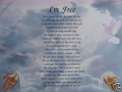 don t grieve for me for now i m free poem