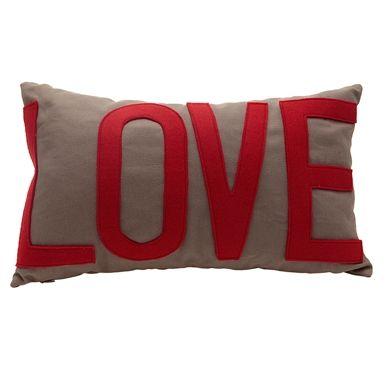 A46 Organization Home Collection Capital Love Gabardin Gri Yastık - netlence.com