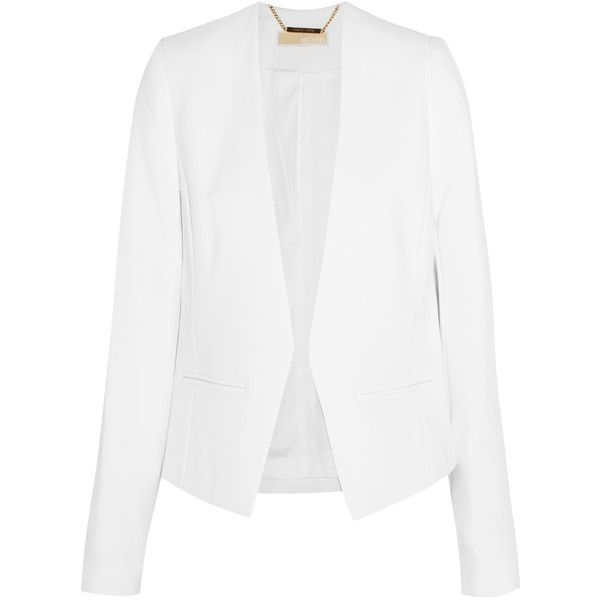 MICHAEL Michael Kors Stretch-crepe blazer (400 CAD) ❤ liked on Polyvore featuring outerwear, jackets, blazers, white, white blazer, michael michael kors jacket, blazer jacket, tailored jacket and open front blazer