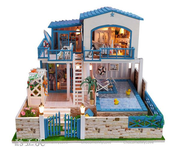 pool house villa dollhouse miniature diy kit by. Black Bedroom Furniture Sets. Home Design Ideas