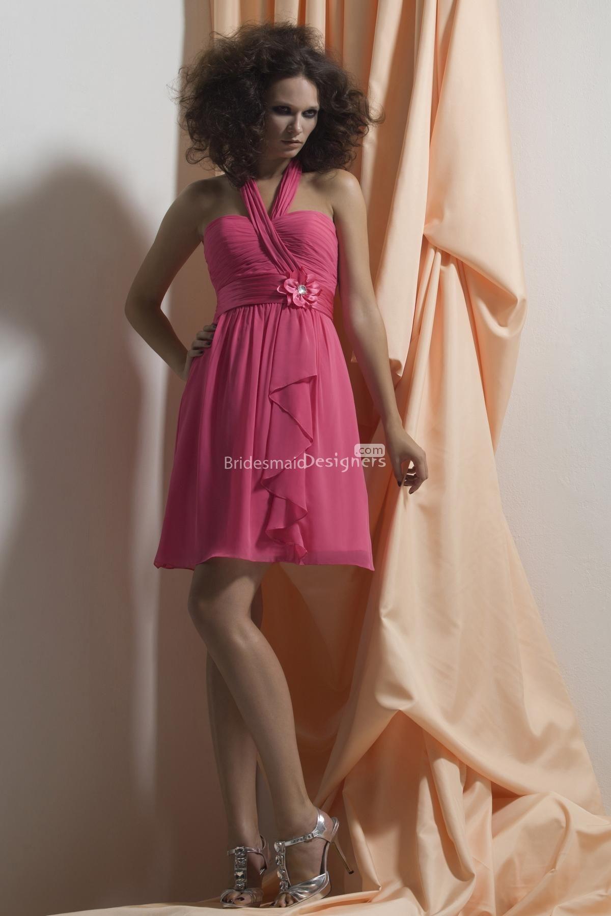 Cute hot pink halter short aline sweetheart ruffle chiffon prom