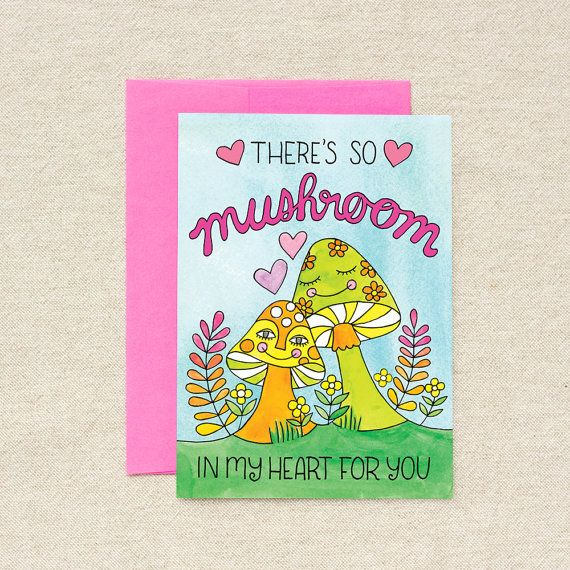 Thereu0027s So Mushroom In My Heart For You - Valentineu0027s Day - single - free blank greeting card templates