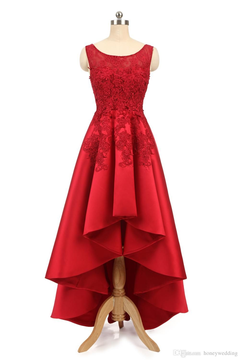 Cheap high low prom dresses red lace formal cocktail party dess