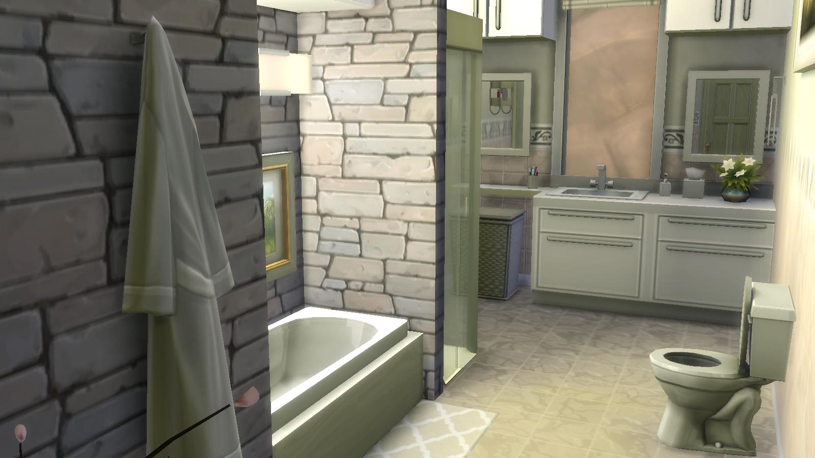 Modern Stone Bathroom Sims House Sims 4 Modern House Sims House Plans