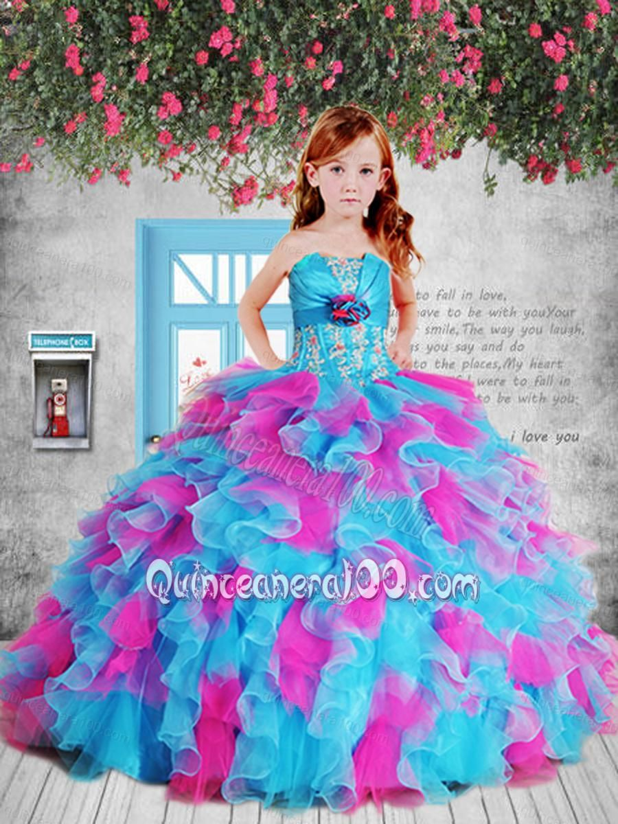 Appliques pink and blue litttle girl pageant dress with