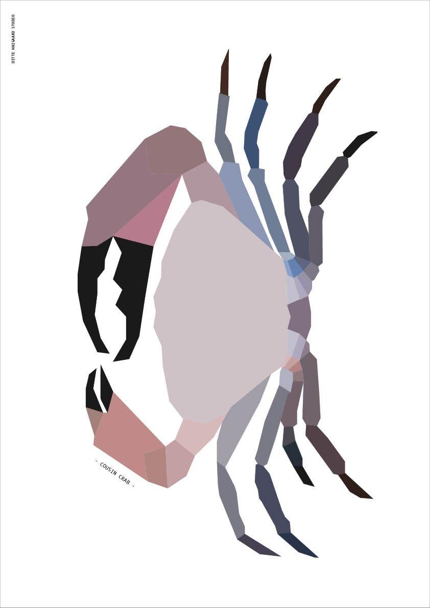 Cousin Crab Giclee Print, A3  Ditte Maigaard Studio for Sønderho www.sonderho.com Geometric Animal