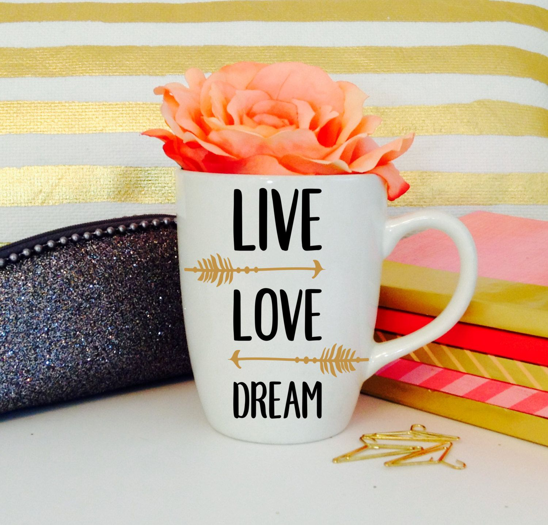 Coffee cup for mac - Live Love Dream Vinyl Oz Ceramic Mug Coffee Cup Car Decal Arrow Tumbler Mac Book By On Etsy