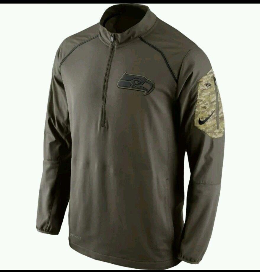 innovative design 0fcf0 46b0c Seattle Seahawks Nike NFL Salute to Service 1/4 Zip Hybrid ...