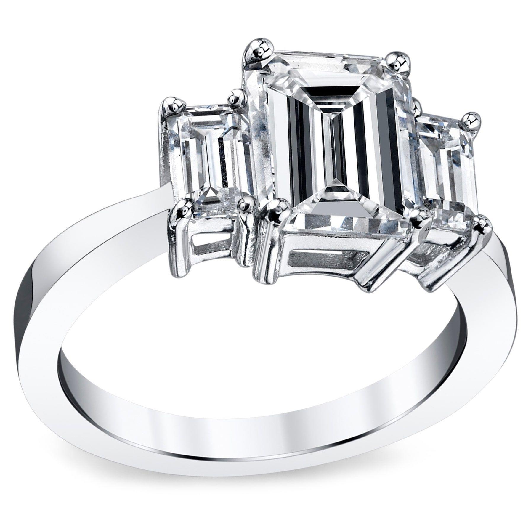 Platinum 3 1 2ct TDW Emerald Certified Diamond Engagement Ring (H ... b3ade374c