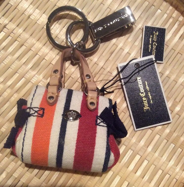 Juicy Couture $48 Striped Purse Keychain Fob!