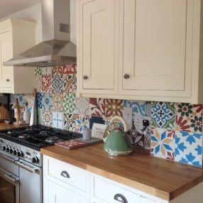 Encaustic Tiles Kitchen Splashback