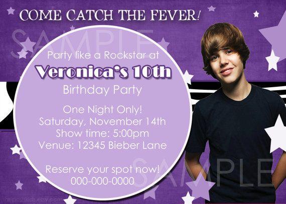 Diy Printable Justin Bieber Inspired Birthday By Theposhkids 14 00 Justin Bieber Birthday Custom Photo Cards Birthday Cards