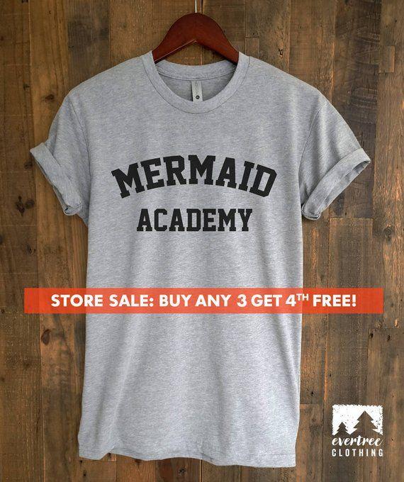 1d5597f9b Mermaid Academy T-Shirt, Ladies Beach T-shirt, Summer Shirt, Cute Mermaid T- shirt, Short & Long Slee