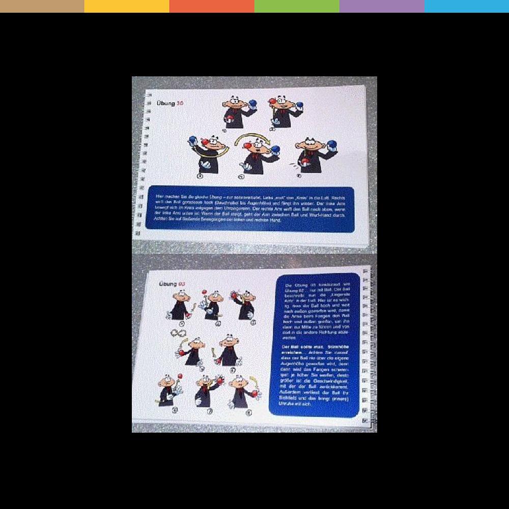 In dieser Anleitung sind alle Wurf- und Fangübungen des erfolgreichen Jonglier-Lernsystems REHORULI enthalten. Gedruckt auf stabilem 250g-Papier, angenehm zu blättern in einer Spiralbindung. In über 170 witzigen Illustrationen werden 34 Wurf- und Fangübungen dargestellt und erläutert. Das Jonglier-Lernprogramm REHORULI wird von Lehrern, Lernpädagogen und Theaterschulen empfohlen, aber auch von Heilpraktikern und Ärzten, die das Jonglieren wg. der positiven Auswirkungen für Gehirn und Gesundheit