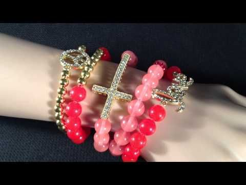 Fashion Jewelry - Red Love, Peace and Cross Arm Candy Set from Fashion Loopy - http://videos.silverjewelry.be/sets/fashion-jewelry-red-love-peace-and-cross-arm-candy-set-from-fashion-loopy/