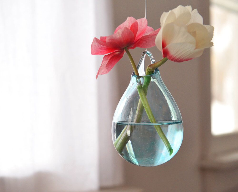 Glass hanging vase hand blown glass art transparent pale blue
