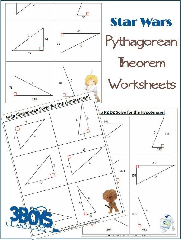 Star Wars Pythagorean Theorem Worksheets | Pythagorean Theorem