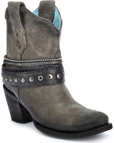 e9161588dfdb Corral Womens Studded Strap Ankle Boots - Round Toe