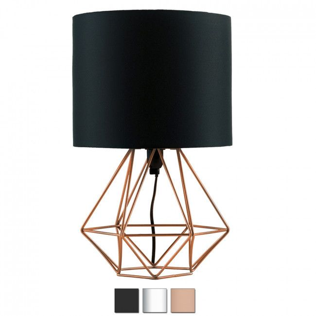 Industrial Style Angus Geometric Base Table Lamp With Coloured Shade Iconic Lights Black Lamps Copper Table Lamp Geometric Table