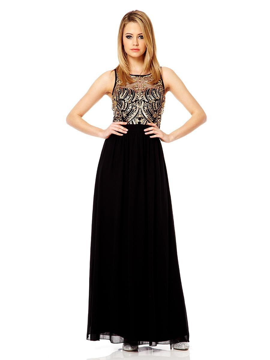 fecf87cdb7f3 Black And Gold Sequin Embellished Maxi Dress - Quiz Clothing | Prom ...
