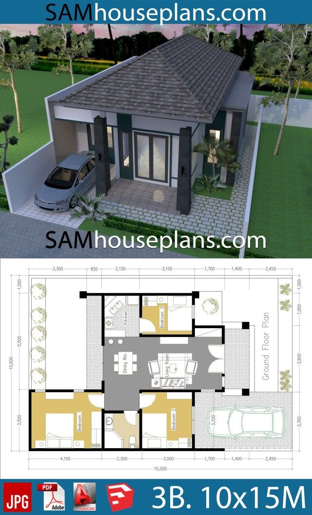 House Plans 10x15 With 3 Bedrooms Sam House Plans Model House Plan Bungalow House Design Simple House Design
