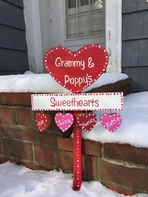 Personalized Valentine sign lawn stake yard art - Diy valentines decorations, Valentines sign, Diy valentines crafts, Diy valentine's day decorations, Valentines diy, Valentines day decorations - 4  pine, making it nice and sturdy   I make the stake from start to finish, cutting it out, hand painting,  lettering the sign, and lastly attaching everything together with weatherproof screws  The heart and plaque can be personalized to say whatever you would like  It comes with 4 little personalized hearts, however, if you need more than 4, just let me know  It stands 24  tall from the top of the heart to the bottom of the stake  It measures 14  wide  I use exterior semigloss acrylic paint along with several coats of a clear acrylic  It will hold up well in all weather conditions  Thanks so much for checking out the Lazy Hound Workshop!