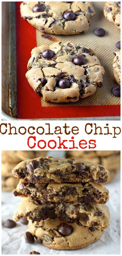 Flawless Chocolate Chip Cookies - these are seriously THE BEST! Thick, chewy, and so easy to make! No chill time needed; just make and bake.
