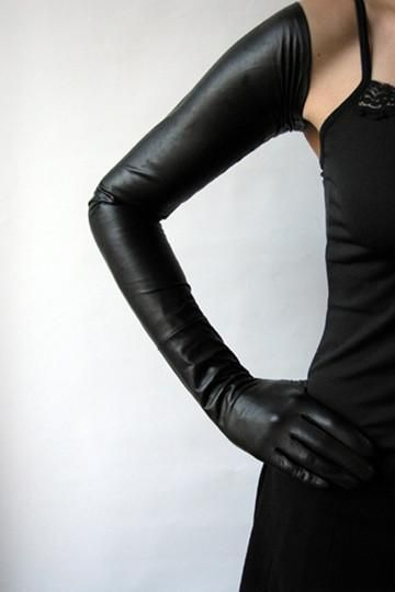 16ffd0b5eba5a Extreme Long Black Leather Gloves | Leather Long Gloves fashion ...