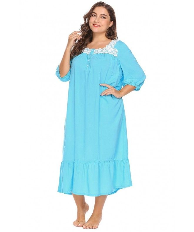 Women Square Collar 3 4 Sleeve Lace Patchwork Loose Gown Nightgown Plus  Size(16W-24W) - Blue - C8188ZKZ6NM 8c3d7dc5f
