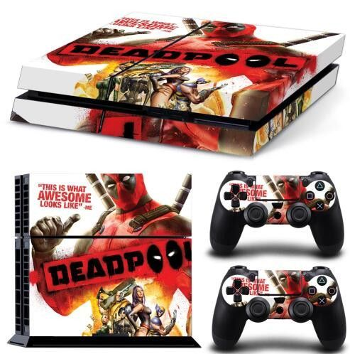 Dead pool design sticker for playstation 4 for ps4 skin PVC vinyl cover for ps4 console and dualshock 4 skin for ps4 sticker