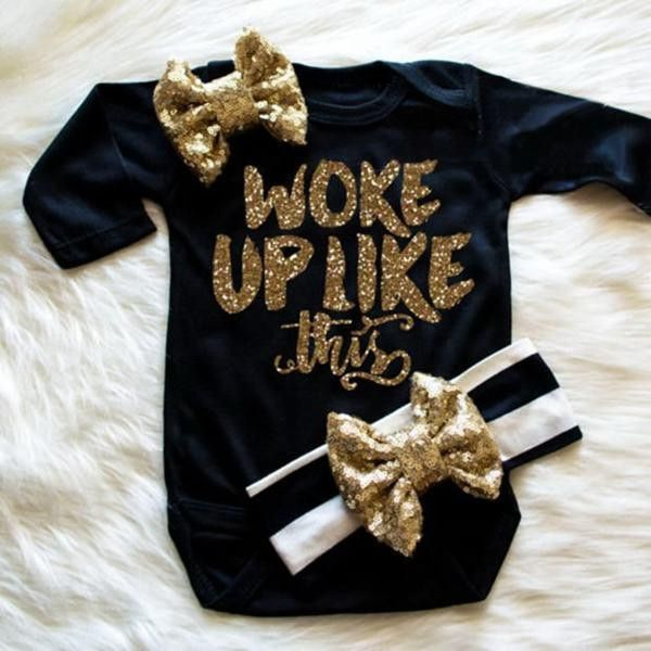 Black Gold Baby Girl Onesie Baby Girl Onesie Onesie And Babies